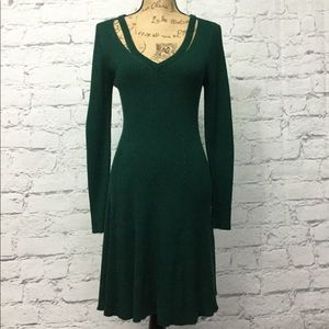 Forrest Green Ribbed Sweater Dress